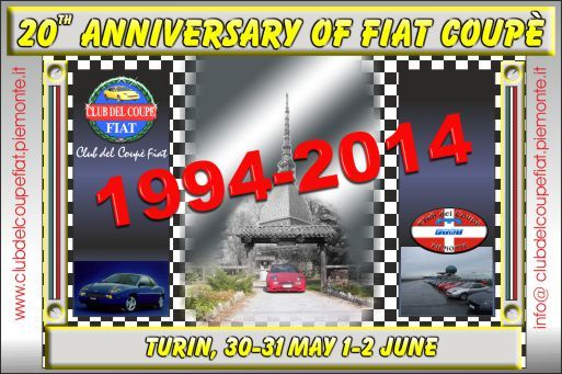 20TH ANNIVERSARY OF FIAT COUPE'   1994-2014  TURIN, 30-31 MAY 1-2 JUNE